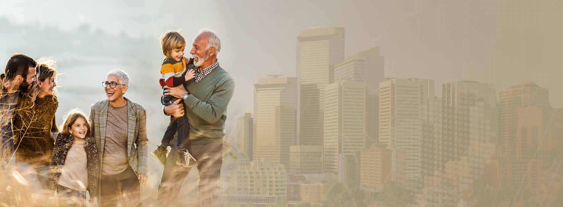 A senior couple enjoys playing with their grandson with the background of Calgary's Peace Bridge and skyline. A soft global image lays over top to create a sense of global connectedness